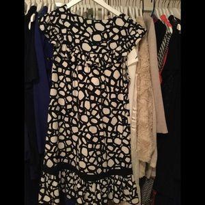 BCBG dress size med black and white ruffles